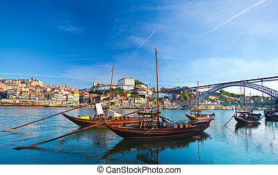 Ancient Boat in Oporto, in which was used to transport the...