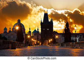 sunrise over Prague - look from Charles Karluv bridge -...