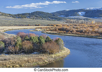 North Platte River in Colorado - meanders of North Platte...