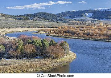 North Platte River in Colorado - meanders of North Platte...