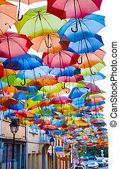rua, decorado, colorido, Guarda-chuvas