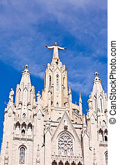 temple on mountain top - Tibidabo in Barcelona city Spain -...