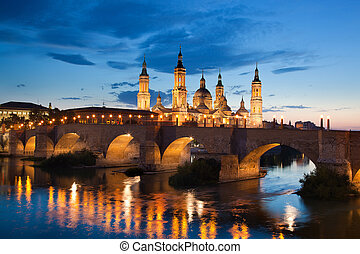 Basilica del Pilar in the evening at sunset Zaragoza, Spain...