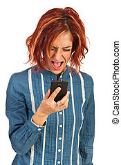 Nervous woman screaming to phone