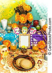 Day of the dead altar (Dia de Muertos) - Traditional mexican...