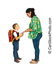 Mother prepare boy for school