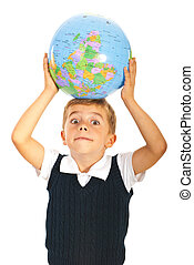 Surprised boy with world globe