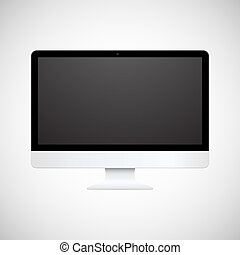 Isolated white computer display - Vector illustration...
