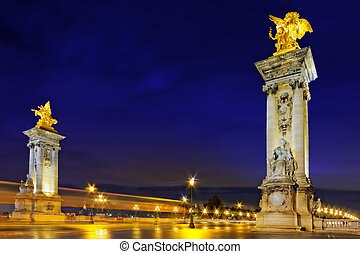 Alexandre III Bridge at the night view.Paris, France. -...