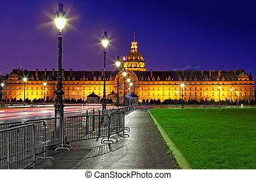 Les Invalides at night - Paris, France. - Les Invalides at...