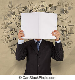 businessman hand show book of business strategy with crumpled paper background  as concept