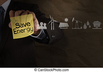 businessman hand draws save energy on sticky note with icons...
