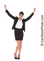 Young Businesswoman Raising Arm - Young Happy Businesswoman...