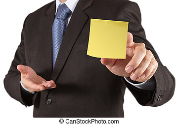 businessman hand show blank sticky note with white...