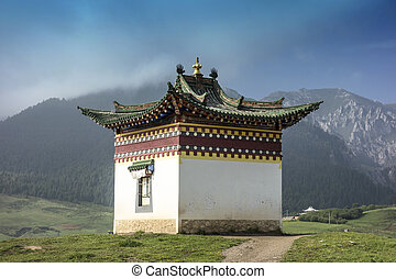 Tibetan building in Langmusi ,Sichuan, China