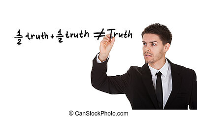 Half truth and half truth does not equal truth on white...