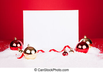 Blank Placard With Christmas Baubles On Red Background