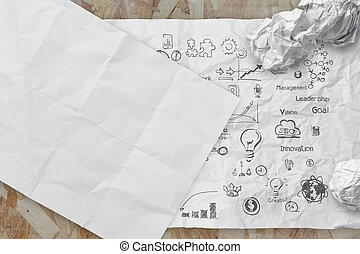 business concept on crumpled paper and sticky note background