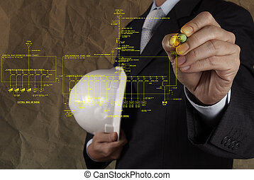 engineer draws an electronic single line and fire alarm riser schematic diagram with crumpled paper background