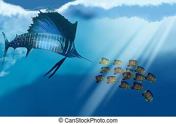 BAHAMA BEAUTY - A sailfish swims after its prey.