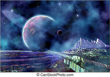 BEYOND THE SILENCE - Fantasy alien world view of the...