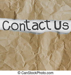 hand drawn contact us words on crumpled paper with tear...