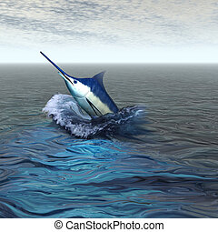 BLUE MARLIN - A beautiful marlin breaches from the ocean