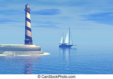 CAPE HATTERAS - A sailboat passes the lighthouse.