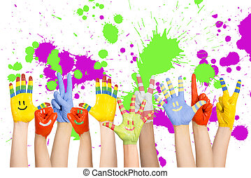 painted childrens hands in different colors with smilies