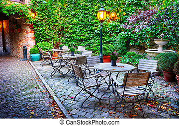 Cosy cafe terrace in Bruges, Belgium