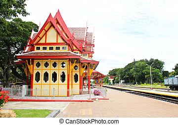Royal pavilion at hua hin railway station, Prachuap Khiri...