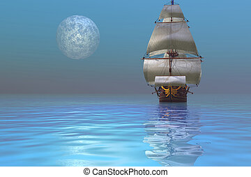 CLIPPER SHIP - Fantasy seascape of a ship and the moon
