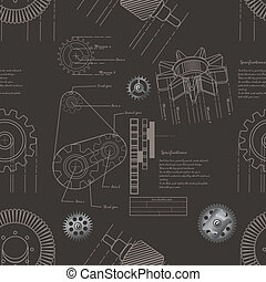 gears seamless pattern - Vector illustration of gears...