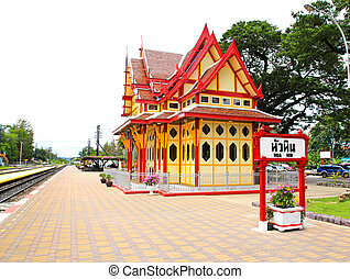 Royal pavilion at hua hin railway station, Prachuap Khiri...