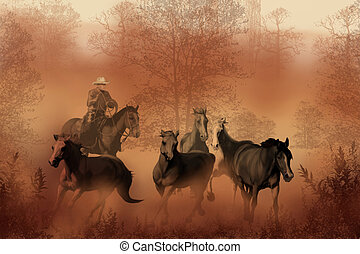 DRIVING THE HERD - A cowboy drives a herd of horses back to...