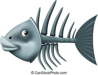 fish skeleton - Conceptual fish skeleton isolated on white...