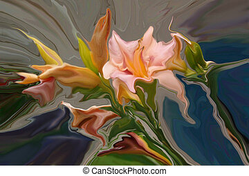 FINERY - Abstract bouquet of pink lilly flowers.