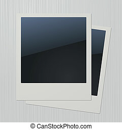 Two blank retro polaroid photo frames