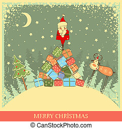 Vintage Christmas background with Santa on old card...