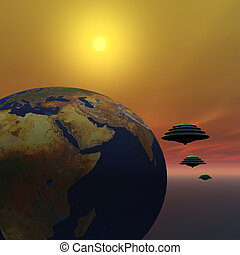 INVASION - Flying saucers make a visit to Earth.