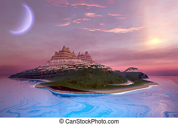 LILAC DREAMS - Fantasy seascape of an island.