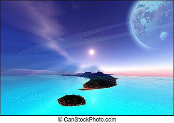 NEPTUNE\'S GARDEN - Beautiful casmic seascape on an alien...
