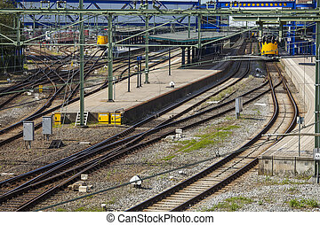 Trainstation with tracks in Groningen, the Netherlands