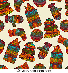 Vector Seamless Winter Christmas Pattern - Vector seamless...