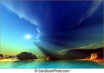 PAINTED VEIL - Rays from the sun shine down on this colorful...
