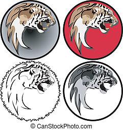 tiger head - vector 4 variants of logo tiger head
