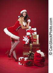 Sexy, Señora, Claus, navidad, regalos