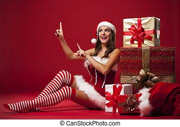 sonriente, Sexy, santa, Claus, mujer, actuación,...