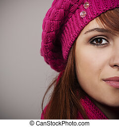 Close up of woman in pink beret