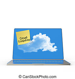 Cloud Computing words on sticky note with laptop computer as concept